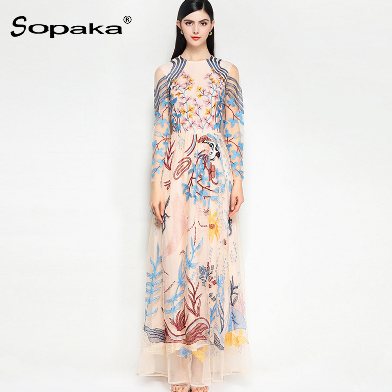 2018 Spring High Quality Mesh Floral Embroidery Vintage Dress Runway Design Maxi Women Dress XXL plus floral embroidery mesh panel dress