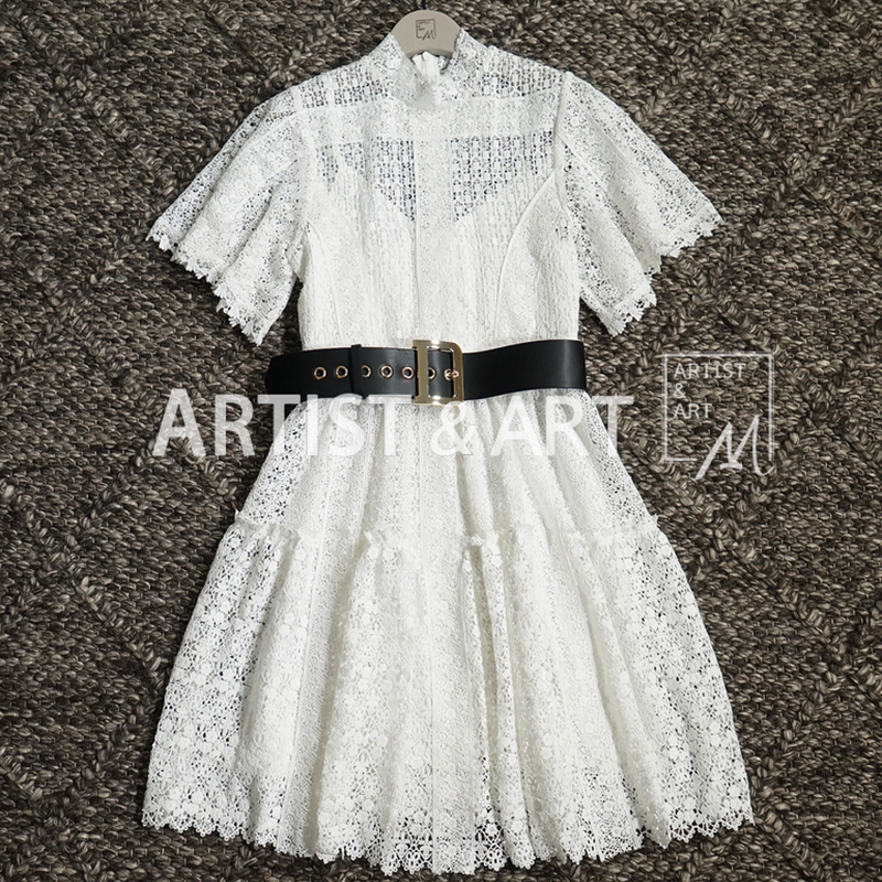 Svoryxiu Elegant Hollow Out Embroidery White Dress Women's Runway Custom Made Summer Sexy Party Short Dresses Female 2019-in Dresses from Women's Clothing    1