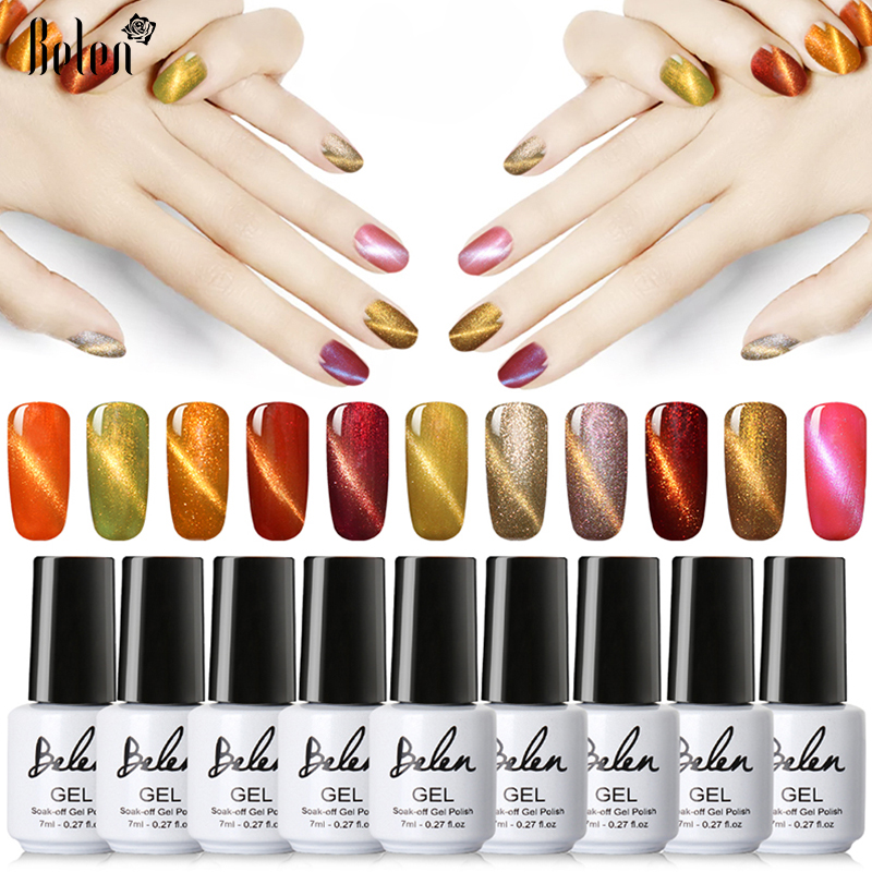Belen UV LED Cat Eye Gel Nail Polish Warna Bersinar Rendam Off Pernis Murah Manicure Glitter Polish UV Gel Warna Magnet Set