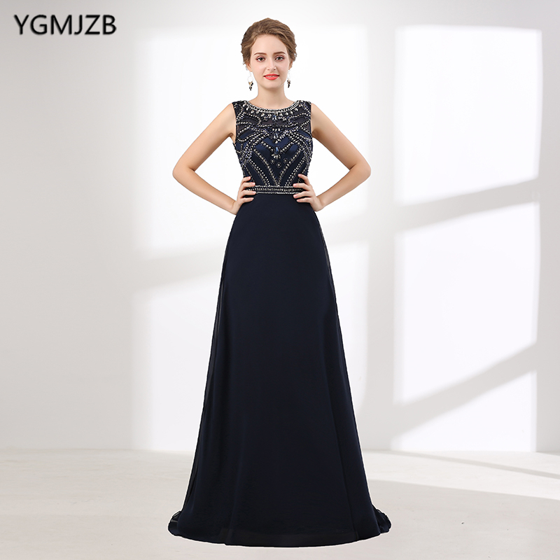 New Arrival Navy Blue   Evening     Dress   Long 2018 A-Line Cap Sleeve Beaded Crystal Sheer Back Prom   Evening   Gown Plus Size Prom   Dress