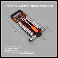 Ratchet wrench set medium fly sleeve 3/8 22 pcs fast wrench auto repair tool