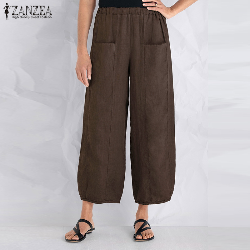 40c7d941dd84 ZANZEA Summer Women Solid Loose Elastic Waist Pockets Baggy Cotton Linen  Harem Pants Casual Work Pantalon