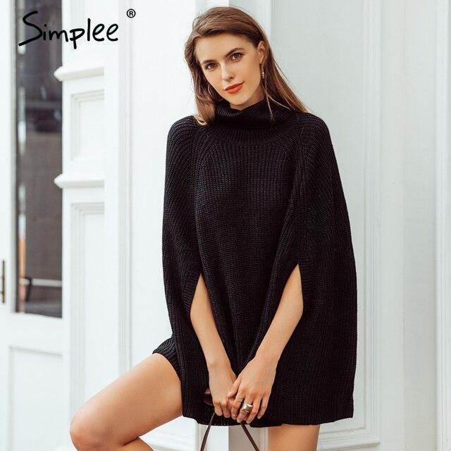 Simplee גולף שחור סרוג גלימת סוודר נשים סוודר מקרית סתיו חורף נשים סוודרים streetwear 2018