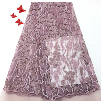 New designs High Quality 2019 African 3D Flowers Lace Fabric Nigeria French Lace Fabric with beads For Wedding Dress