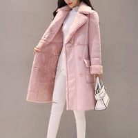 Fashion Suede 2018 Autumn Winter Feminine Coat Pink Grey Elegant Long Manteau Femme Korean New Suit Collar Long Sleeve Outwear