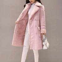 Fashion Suede 2018 Autumn Winter Feminine Coat Pink Grey Elegant Long Manteau Femme Korean New Suit Collar Long Sleeve Outwear