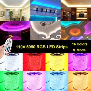 Image 2 - 110V LED Strip SMD5050 60led/m Color Changing Remote Control Type RGB Neon Light Belt AC110V Lighting Line Home Decor Waterproof