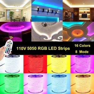 Image 2 - شريط مصابيح LED 110 فولت SMD5050 60led/م تغيير لون التحكم عن بعد نوع RGB ضوء النيون حزام AC110V خط الإضاءة ديكور المنزل مقاوم للماء