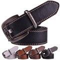 UNISEX DOBLE COSTURA cinturones de CORREA con hebilla de metal