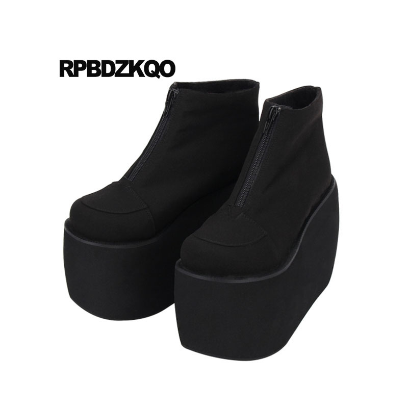 ae7a5b1875630 Gothic Punk Rock Boots Booties Flatform 10 Women Muffin Black Platform  Shoes Wedge Harajuku High Heel 12 44 Japanese Big Size