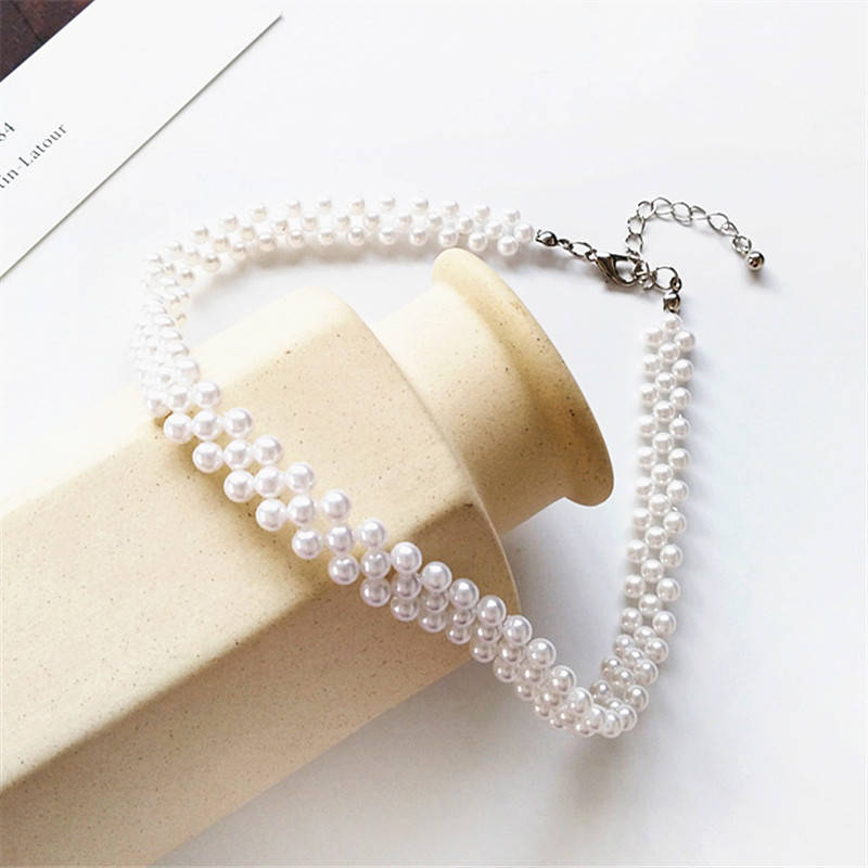 Contracted pearl collar bone accessories chain necklace tide female temperament girl geometry Necklace for birthday