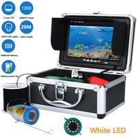 GAMWATER 7 HD 1000TVL Waterproof Underwater Fishing Video Camera Kit 12 PCS White LED Fish Finder