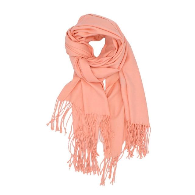 Mode 2018 nouveau printemps hiver foulards pour femmes châles et wraps lady  pashmina solide à long f86d57c9bb4
