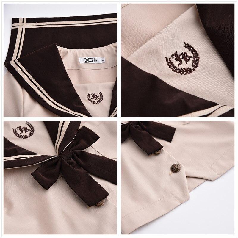 Nouveau japonais/coréen mignon filles marinière costume étudiant école uniformes vêtements tenues courtes/longues manches chemises + jupe ensembles - 6