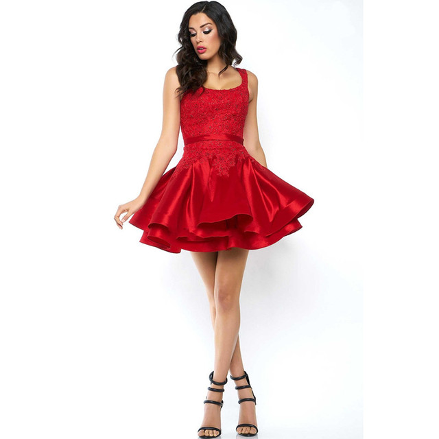 Red Cocktail Dresses Ruffles Sleeveless A Line robe de cocktail Short Party Gowns Appliques Beaded Lace Formal Dress