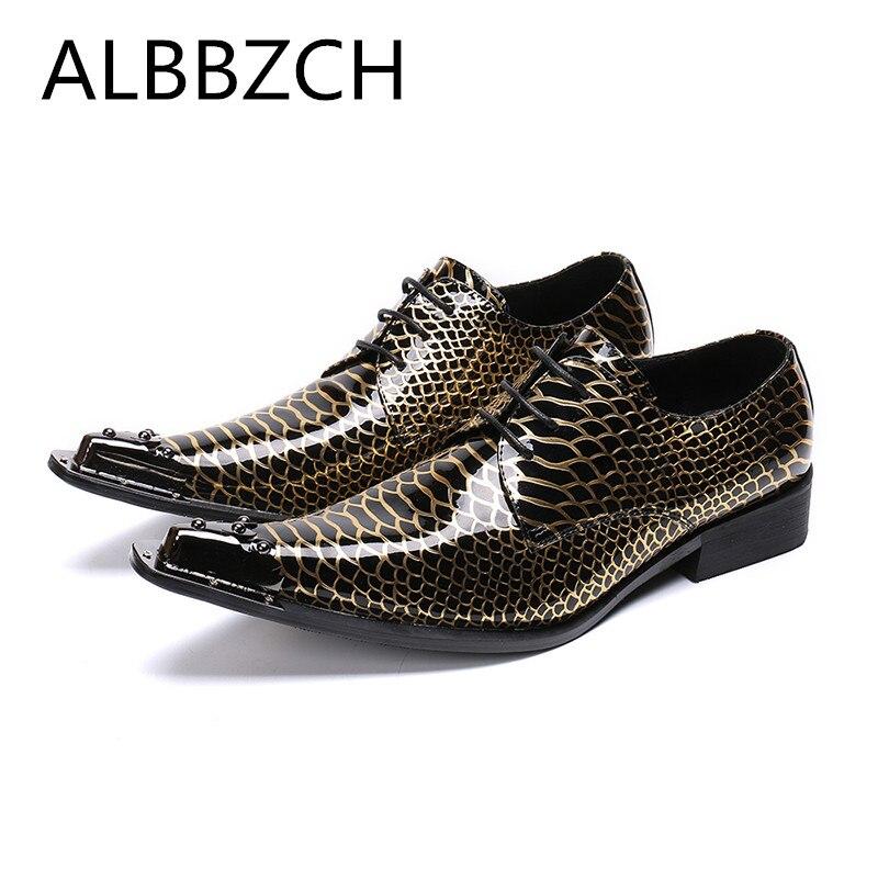 Zapatos de cuero para hombre con estampado negro y dorado, zapatos de fiesta de lujo para hombre hombre
