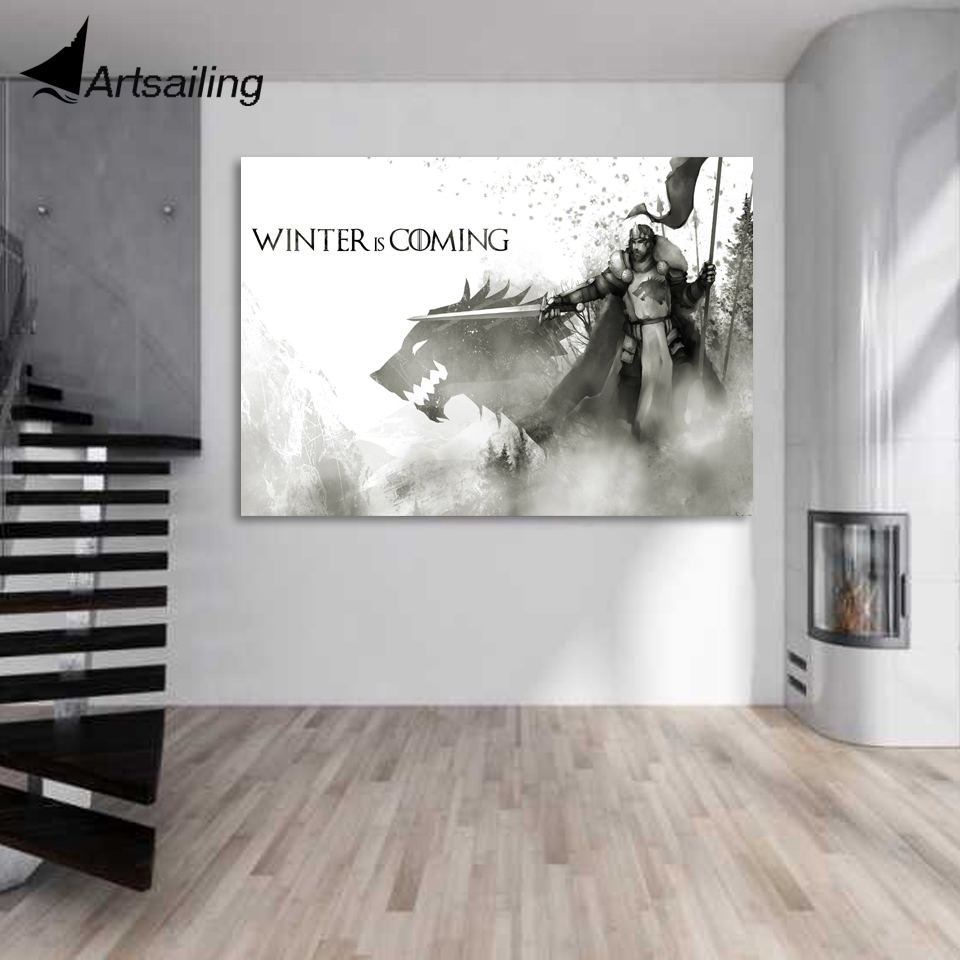 1 piece canvas art game of thrones robb stark wolf king canvas painting posters and prints wall pictures for living room XA1654C