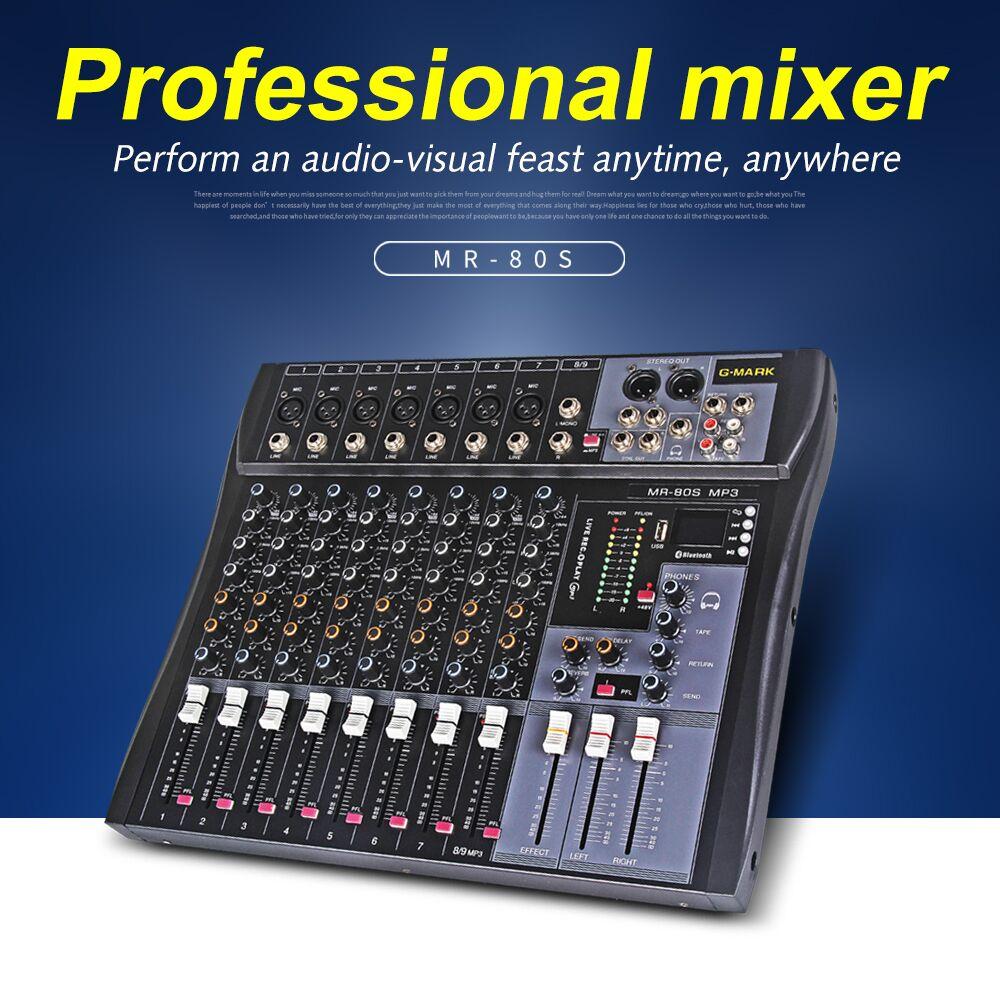 G-MARK MR80S mélangeur audio studio de musique console de mixage mélangeur analogique 7 mono 1 stéréo USB MP3 Bluetooth 48V puissance DJ fête église