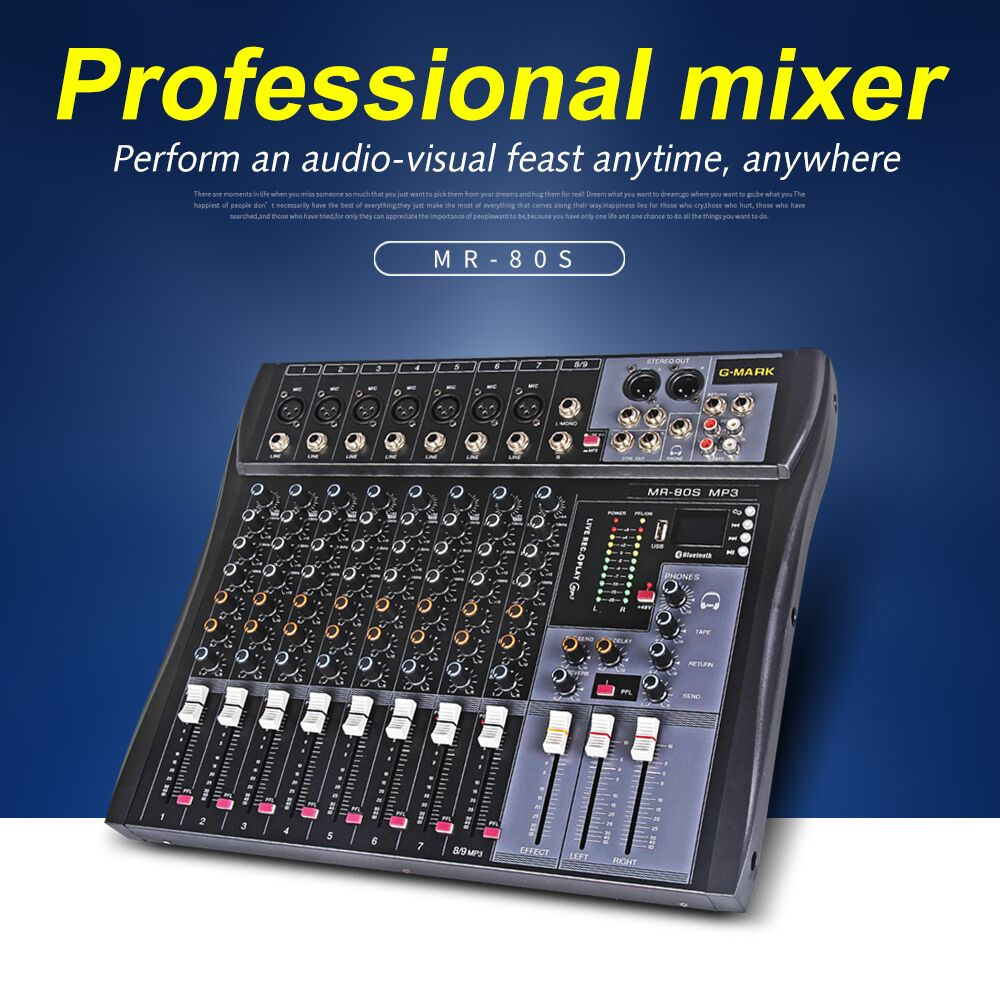 G-MARK MR80S mixer de áudio music studio mixing console mixer Analógico 7 1 mono stereo USB MP3 48V potência Do Bluetooth DJ party Igreja