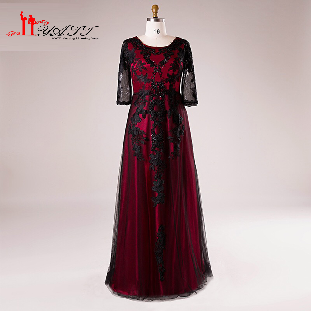 2018 Spring Plus Size Black and Red Cheap Lace Appliques ...