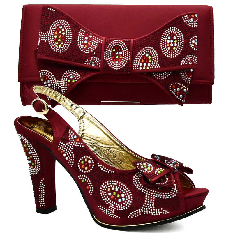 Latest Wine Color Italian Ladies Shoes and Bag Set Decorated with Rhinestone  African Matching Shoes and 67b856bddc03