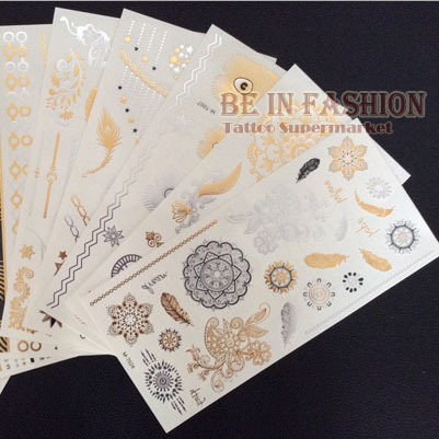 4pcs/lot Temporary Tattoo Sticker Fake Gold And Silver Tatoo Sheets Flash Henna Tatouage Metallic Tatto Aramex Tatuajes Dorados