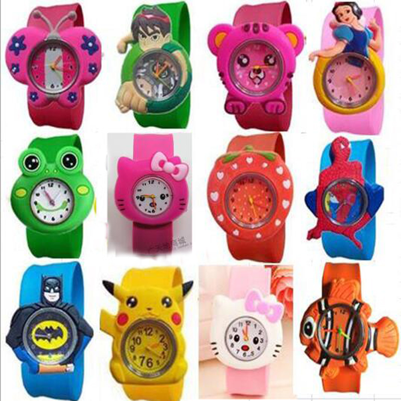 3D Kids Cartoon Watches Lovely Silicone Band Slap Watch Casual Animal Children Clock Creative Quartz Wristwatch Christmas Gift