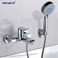 ROVATE Bathroom Shower Faucet with Handheld Shower Head,Bath Faucet Cold and Hot Water Mixer Tap Brass Chrome
