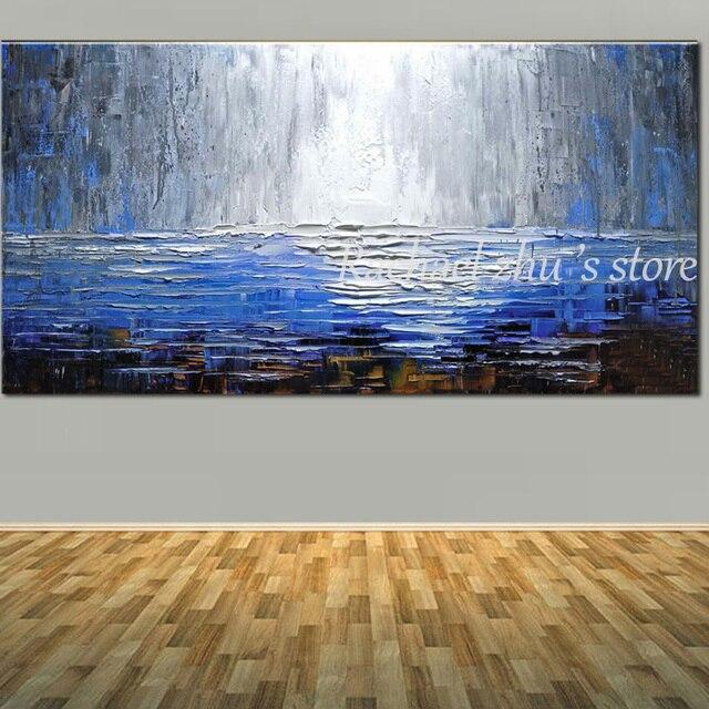 handgemalte moderne abstrakte strukturierte dicken lgem lde auf leinwand blaue farbe abstrakte. Black Bedroom Furniture Sets. Home Design Ideas