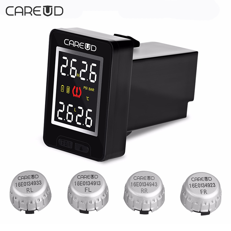все цены на CAREUD U912 For Honda Wireless Auto Car TPMS Tire Pressure Monitoring System with 4 External Sensors LCD Embedded Monitor