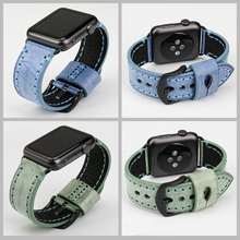 MAIKES New design fashion black leather watchband for apple 38mm 42mm iwatch