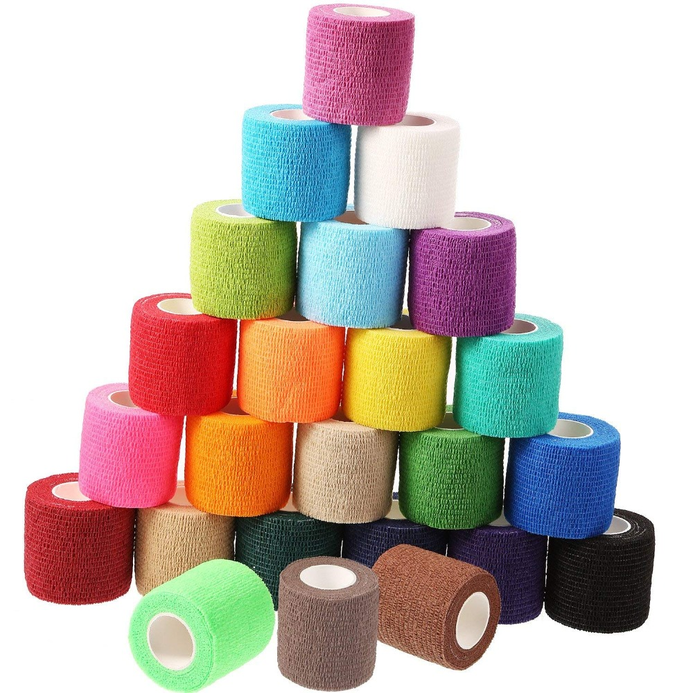 24 Pieces Adhesive Wrap Bandage Rolls Self-Adherent Tape For Sports, Wrist And Ankle, 5 Yards (24 Colors, 2 Inches)