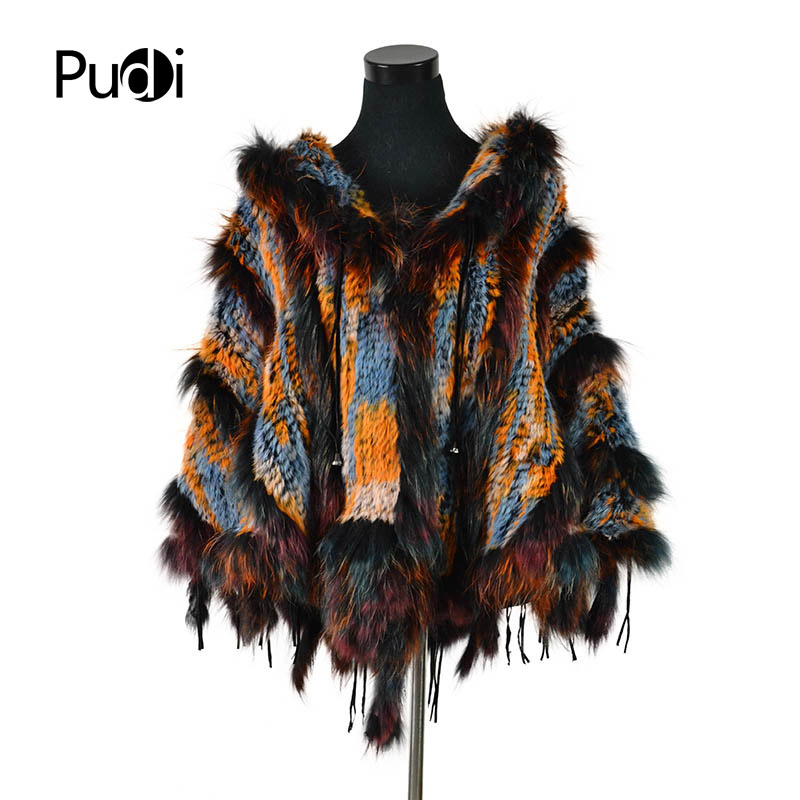 CK708 Real Knitted Rabbit  Shawl Poncho Stole With Tassels Shrug Cape Robe Tippet Wrap  With Raccoon Fur Collar Women