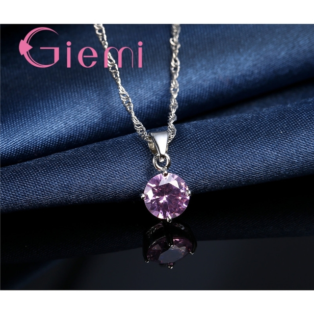 Giemi Hot Sale 8 Colors Crystal Pendant Necklace Earrings Set S90 Silver Color Elegant Jewelry Set Women Valentine Gifts 5