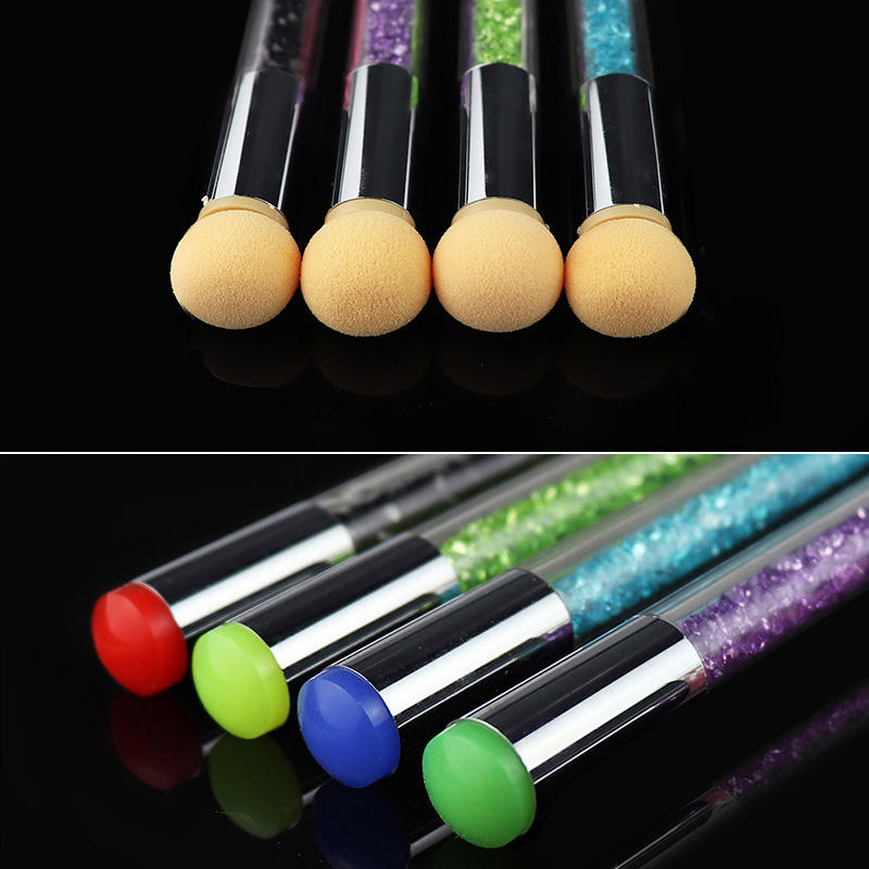 Image 3 - Colorful Dual ended Nail Art Brushes Stamper Sponge DIY Manicure Rhinestone Handle Brush Blooming UV Gel Pen-in Nail Art Templates from Beauty & Health