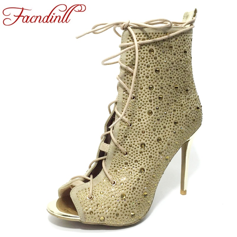 FACNDINLL fashion cross tied rhinestones party dress shoes woman sexy high heels peep toe summer autumn motorycle ankle boots