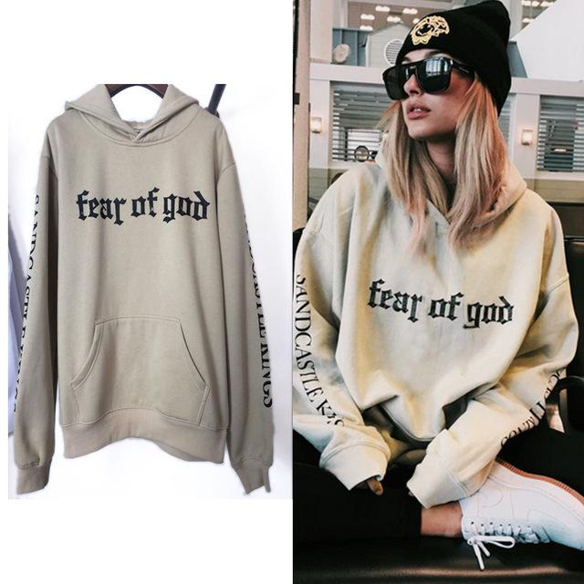 TOP Fashion homens \ wome EQUIPE Tour de Propósito O Medo De Deus kanye Capuz Justin Bieber Carta Treino Streetwear Com Capuz Da Camisola