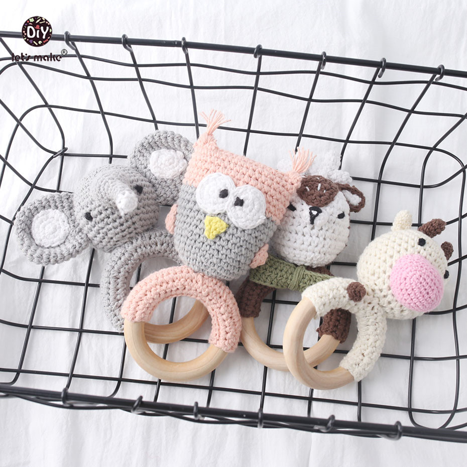 Let's Make Baby Teether 1pc Animal Crochet Wood Rring Rattle Food Grade Wooden Teether Baby Products DIY Crafts Teething Toys