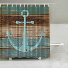 Vintage Anchor bath curtain waterproof new hot sale fashion vintage wood board bathroom shower curtains