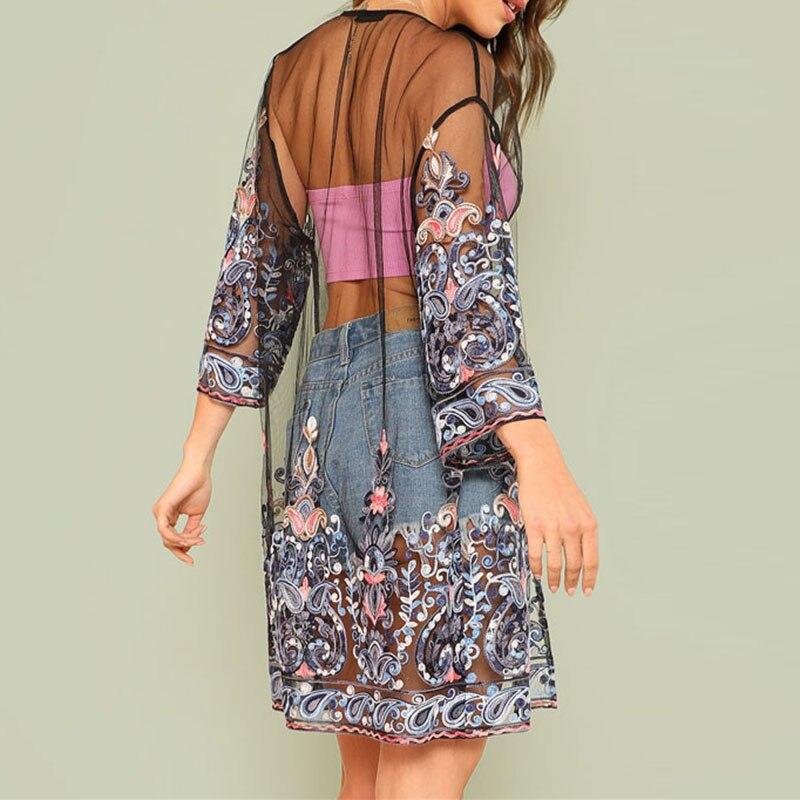 Women Mesh Kimono Cardigan Summer Long Shirt Embroidery Floral Streetwear Beachwear Transparent Tops Femme Blouse Sexy Robe New