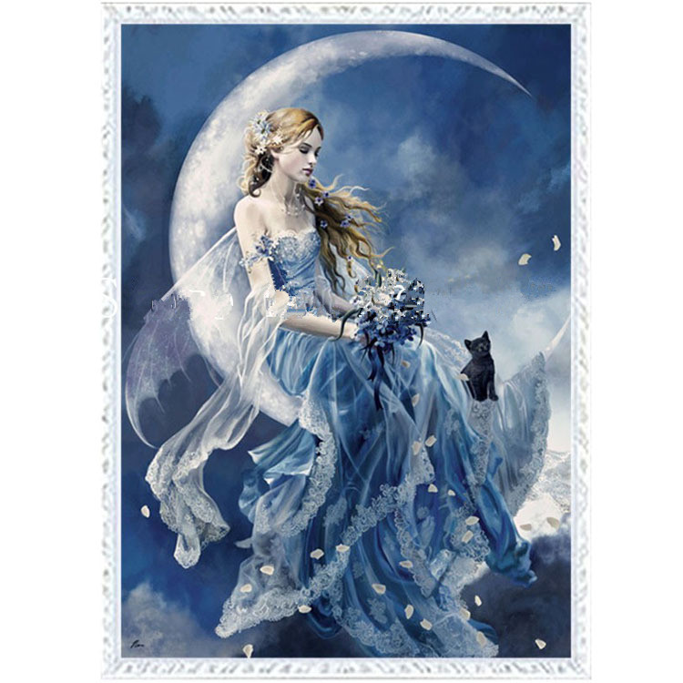 Moon Angel Petals Fly People Needlework,DMC Cross Stitch,Embroidery Kits,14CT White Canvas Patterns Cross-Stitching,DIY Handmade