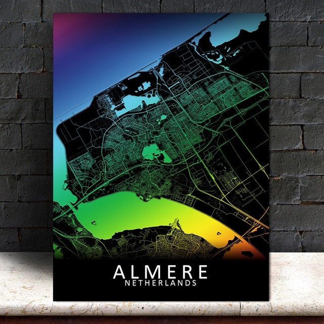 Almere Colorful City Map Poster Canvas Printings Home Decor No Frame