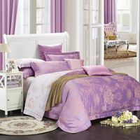 Luxury Bamboo Fiber And Satin Jacquard Bedding Set Queen King Size Summer Duvet Cover Bed Sheets