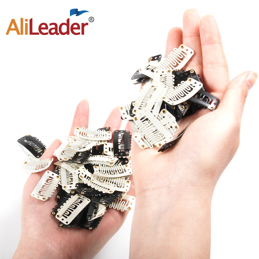 AliLeader 30 PCS Black White U Shape Snap Comb Hair Clip For Hair Extensions 7 Teeth Metallic Wig Clips With Silicon Rubber