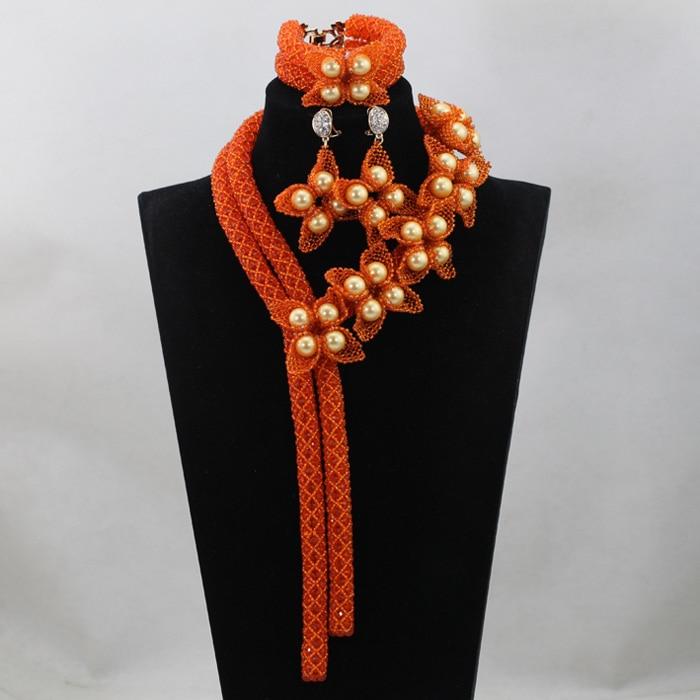 Luxury Fashion Nigerian Orange Crystal Handmade Beads Jewelry Set African Costume Indian Bridal Jewelry Sets Free ShippingABL825Luxury Fashion Nigerian Orange Crystal Handmade Beads Jewelry Set African Costume Indian Bridal Jewelry Sets Free ShippingABL825