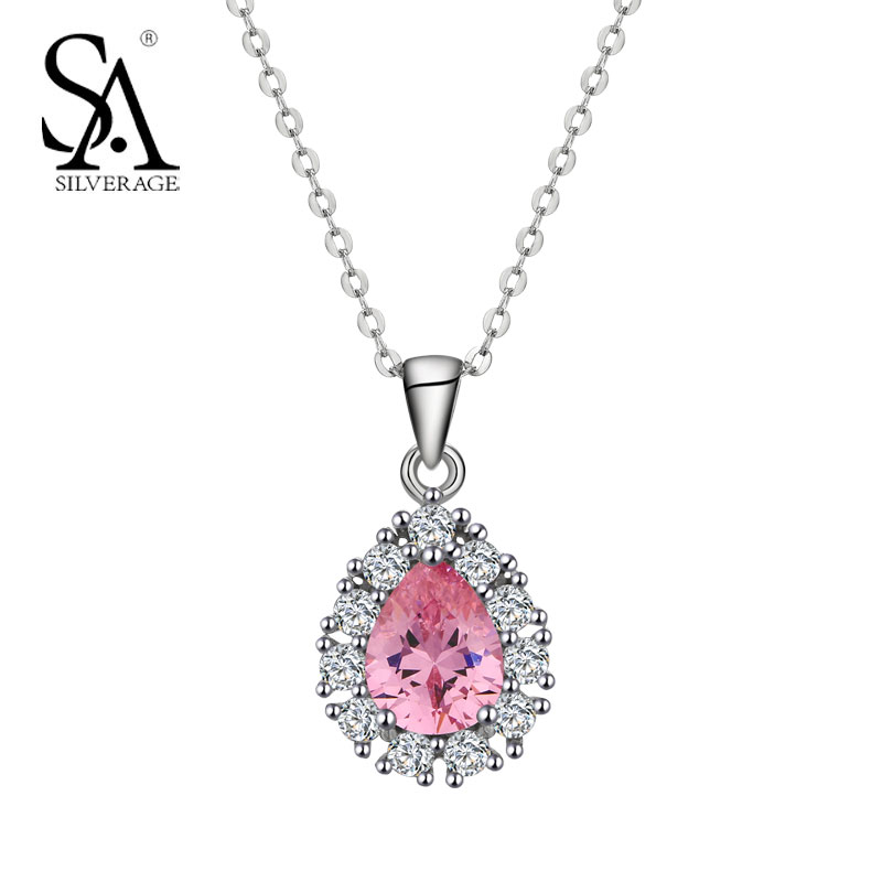 SA SILVERAGE Silver Necklace Water Drop Pendant Women 925