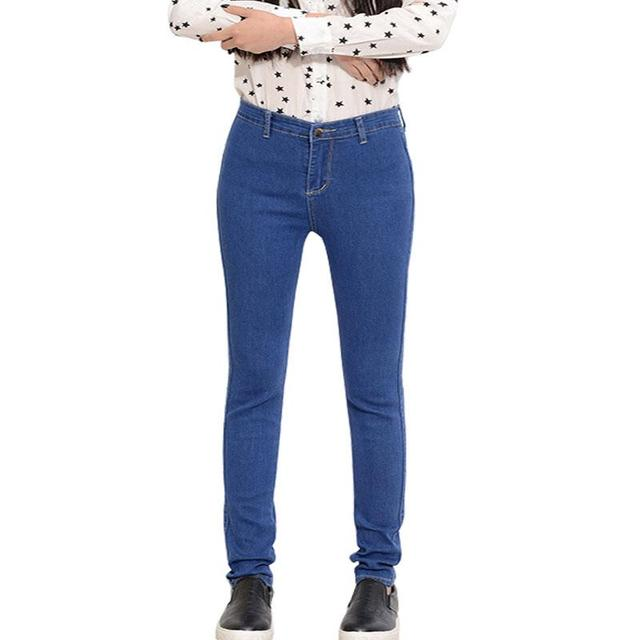 Pencil Pants 2015 Fall And Winter Clothes Korean Version Plus Size Elastic Mid Waist Pants Feet Nine Points Skinny Jeans