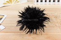 1yards/lot natural Coque feather black Rooster Tail Feather Fringe,cheap craft feathers for sale