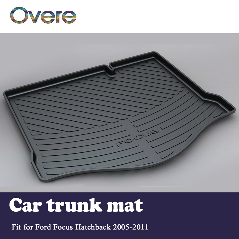 Overe 1Set Car Cargo rear trunk mat For Ford Focus Hatchback 2005 2006 2007 2008 2009 2010 2011 Waterproof Anti-slip accessories free shipping waterproof fiber leather car floor mats for ford focus mk 2 2nd generation 2004 2010 2009 2008 2006 2005