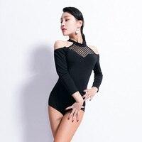 Ladies Latin Dance Top Fashion Stand Collar Pierced Sexy Backless Leotard Women Cha Cha Rumba Samba Latin Practice Wear DNV10882